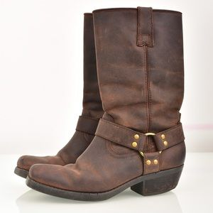 Kaya Brown Leather Boots. Distressed Style Size 8